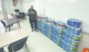 Crystal Mata organized a water drive for students in the Swartz Creek Community Schools. The community responded with 80 cases of water for all seven schools. Courtesy photo