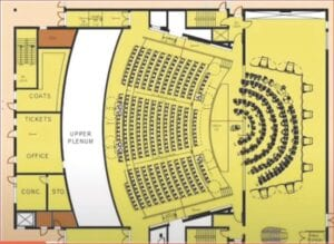 The layout of the inside of the new performing arts center. Photos screenshots from DTV