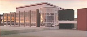 A look at the exterior of the proposed performing arts center at Davison High School.