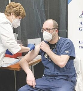 Muhammed Aboudan, MD, was the first of Ascension Genesys' medical staff to receive the COVID-19 vaccine, Dec. 23. Photo provided