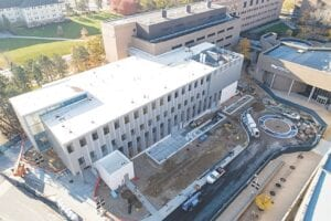 An aerial view of the Murchie Science Building. Photos provided