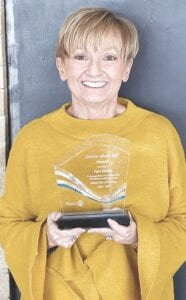 Pam Miller with her Service Above Self Award. Photo provided
