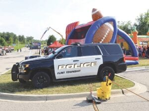 Flint Township police vehicle parked at National Night Out 2018. File photo