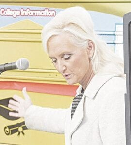 GISD Superintendent Dr. Lisa Hagel at a recent unveiling of the district's Mobile Learning Lab. File photo