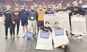 Davison's individual state champions displayed their championship brackets. Photos provided