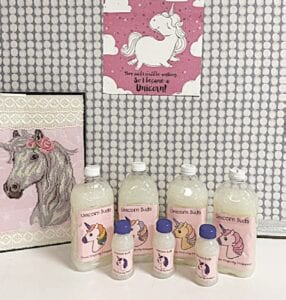 """""""Unicorn Suds"""" products with hand-colored labels created by the class."""