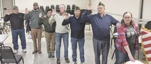 The new officers for VFW Post 3720 include, from left, Trustees Jim Helmka and David Roth, Quartermaster Leisly Harmon, Chaplain Tom Kerns, Vice Commander Jerry Wright, Senior Vice Commander Ted Henry, and Commander Krystal Harmon. Courtesy photo