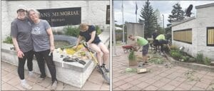 Volunteers were busy at work May 15 cleaning up the area around the Burton Veterans Memorial to have it ready for the city's Memorial Day festivities. Photos provided