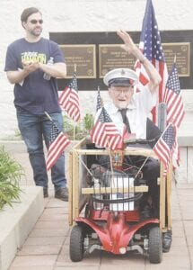 Grover Good, a 100-year-old Burton veteran, was recognized for his service in World War II during the Memorial Day ceremony. Photos by Gary Gould