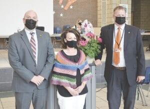 Pictured (Left to right): FCS Superintendent Matt Shanafelt, Kathy McMahan and FCS Deputy Superintendent Andrew Schmidt. Photo by Ben Gagnon
