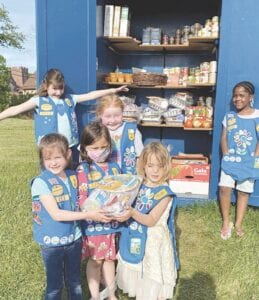 Daisy scouts who earned their Take Action patches by donating birthday supplies to the HOPE pantry included Althea Ovsenik, Dessiah Desmond, Gwyn Shafer, Hunter LeClair, Jillian Hodgeson and Olivia Hurst. Not pictured are Addy Jubenville and Shyla Hill. Courtesy photo