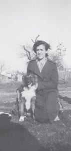 A family photo of Mona Ballge showing her grandmother and a family pet. Photo provided
