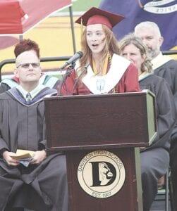 Class Valedictorian Hannah Eller giving her speech to the Class of 2021.