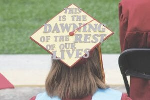 Some students took creative liberties with their caps for graduation night.