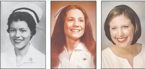 Three generations of nurses and their nursing school graduation photos: (left to right) Theo Everett (1955), Teresa McComb (1979) and Melissa Sparks (2005). Photos provided