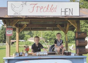 The Freckled Hen farm stand was created around the bed of a 1950 Chevy C10 truck for a unique and attractive vintage look.