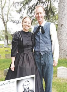 Ben and Lindsay Clevenger portrayed the ghosts of Caleb and Clarinda Thompson, two of the early settlers who helped shape the Grand Blanc community. Photo by Lania Rocha